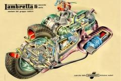 Lambretta LI. Diagrama en Corte de Motor